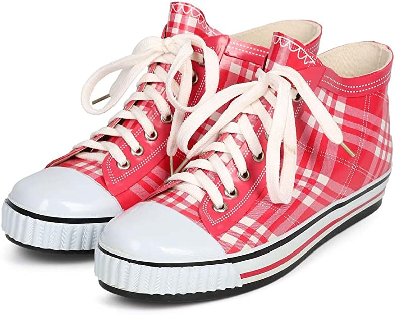 New Women Misbehave Rain Jelly Plaid Cap Toe Classic Pull On Rain Sneaker Size