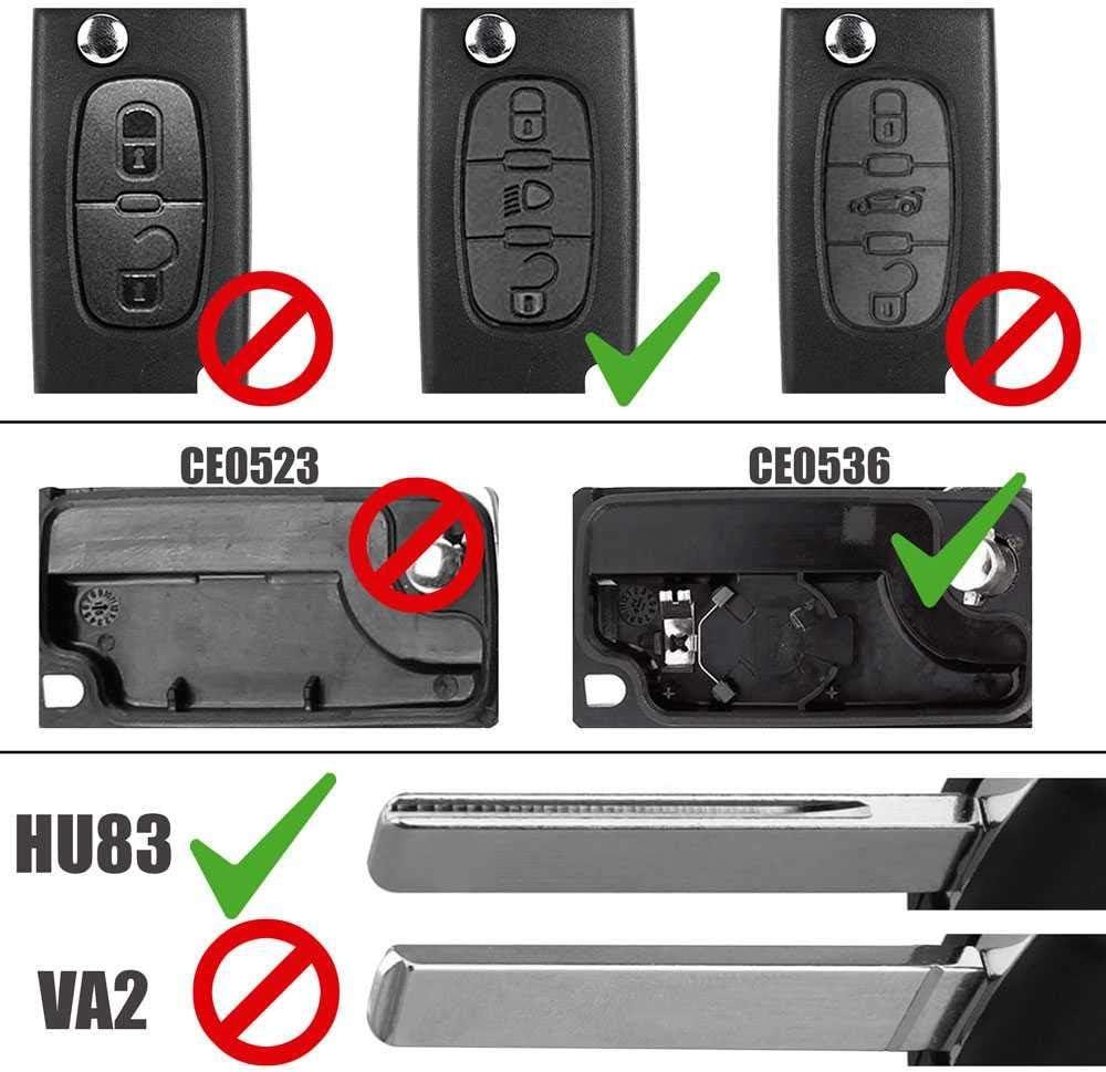 T/él/écommande Coque CE0536 HU83 3 Boutons Phare Cl/é PLIP pour Peugeot 206 207 306 307 308 407 607 806 Citroen C2 C3 C4 C5 C6