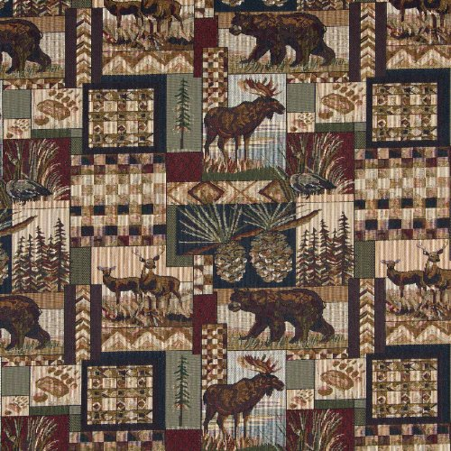 - Aspen Moose Bear Deer in Woods Pine Lodge Cabin Theme Tapestry Upholstery Fabric by the yard