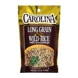 Carolina Long Grain & Wild Rice with Seasoning 4.5 Ounces Bag (Pack of 3)