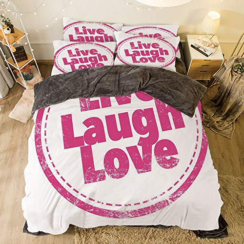 Flannel 3D Printed 4 Pieces on The Bed Duvet Cover Set for Bed Width 6.6ft Pattern by,Live Laugh Love Decor,Motivational Lifestyle Stamp Cute Grunge Retro Art Illustration,Hot Pink White