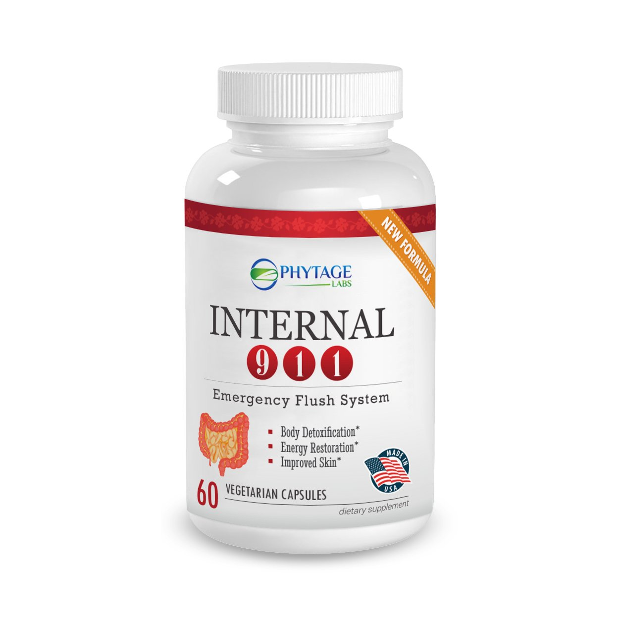 Official Phytage Labs Internal 911 Colon Cleanse Detox Supplement - Natural Laxative Cleanser Removes Toxins For Better Digestion, Weight Loss and Radiant Skin - 60 Capsules by Phytage Labs