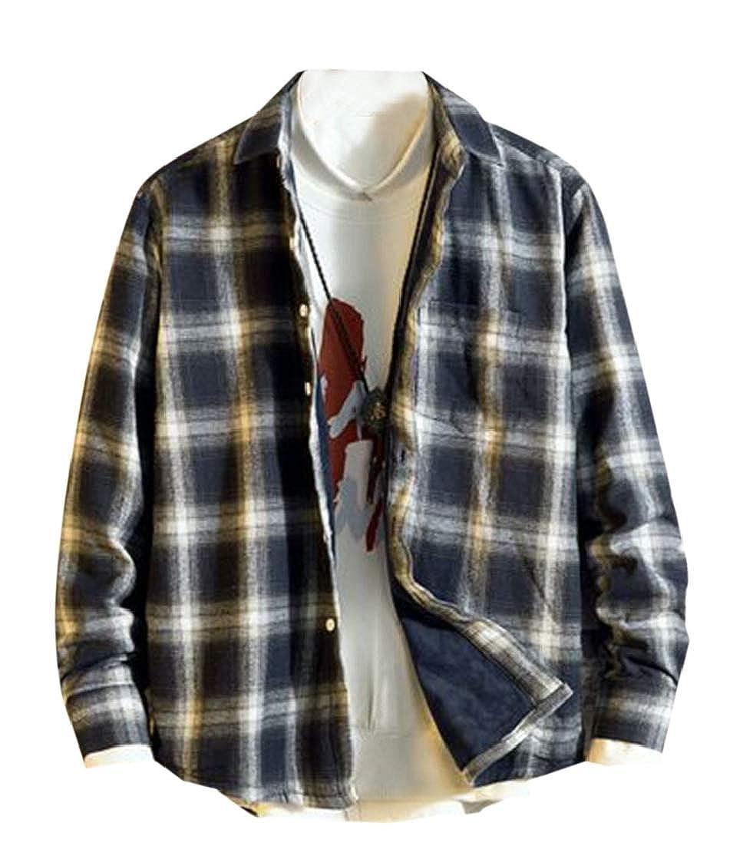 YYear Mens Buttons Fleece Linen Long Sleeve Casual Plaid Shirts