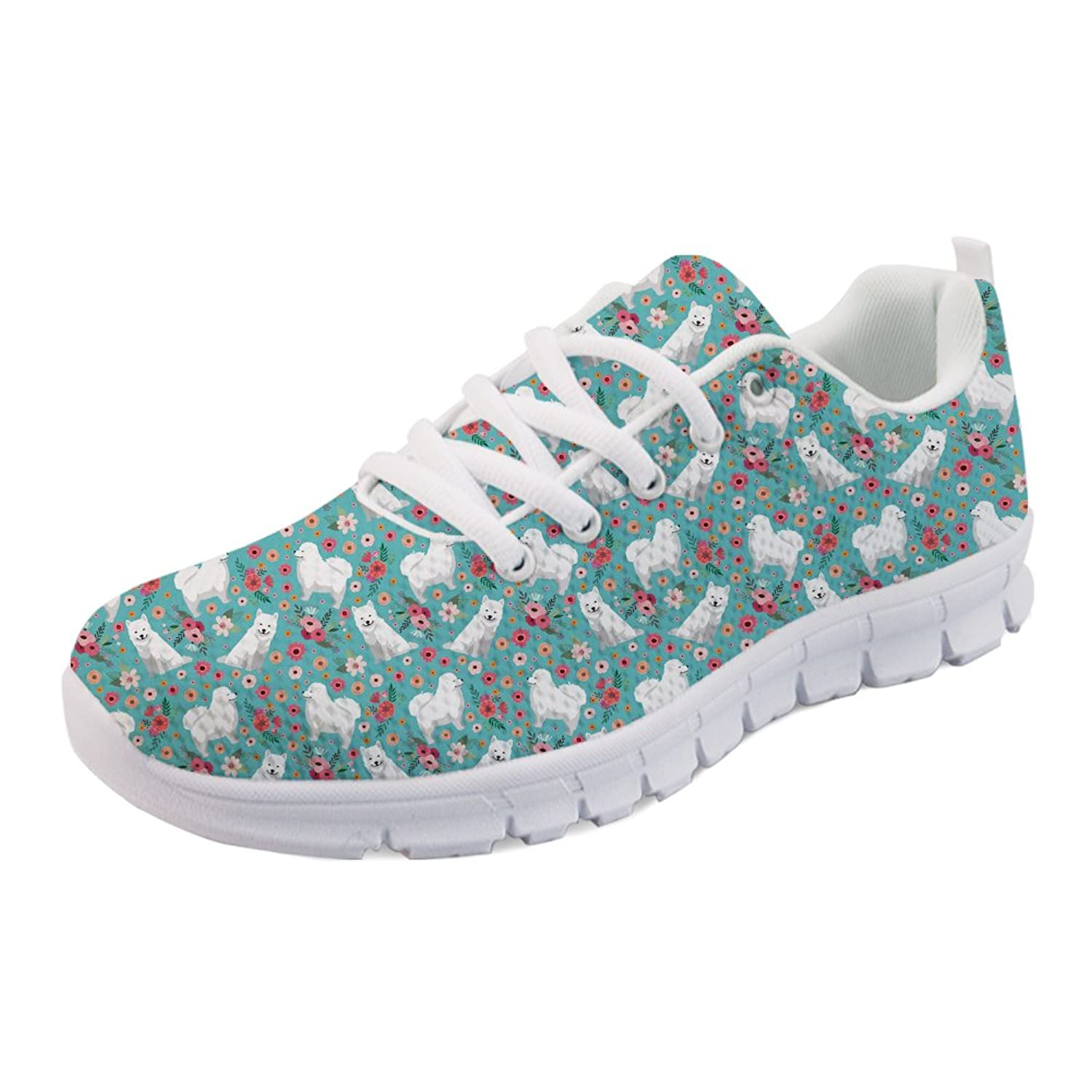 Coloranimal Women Lightweight Sports Running Walking Shoes Lace-up Flats