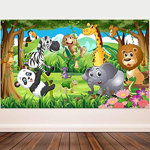 Cheap Themes For Parties (Blulu Safari Animals Decorations, Extra Large Fabric Jungle Safari Backdrop Banner for Jungle Theme Party Supplies, Jungle Safari Animals Backdrop Photography Background -72.8 x 43.3)