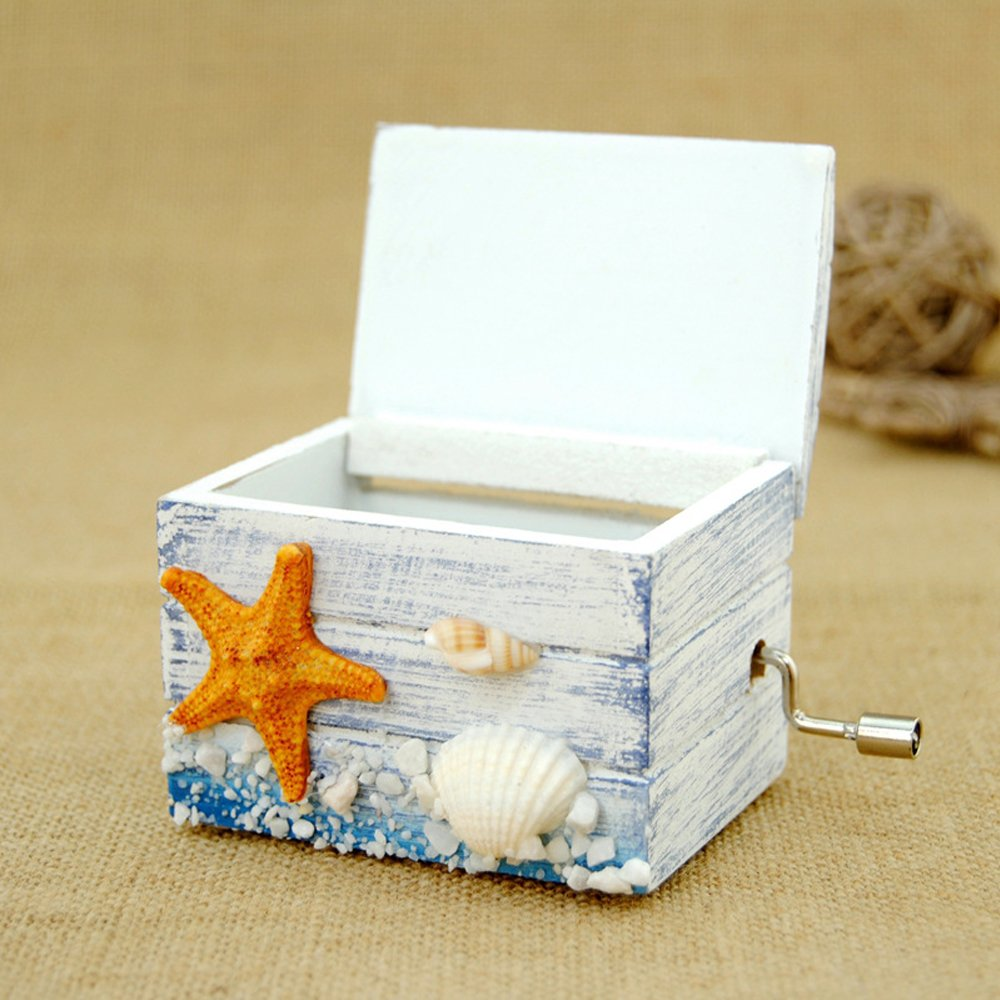 Wooden Music Boxes, Hand Crank Musical Box with Castle in the Sky by Samlong (Image #2)