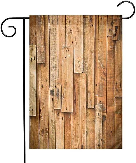 seedine - Bandera de jardín para Porche, Patio, Madera, Estilo Lodge de Madera Dura, impresión de Imagen de Granja, diseño de Grunge, Color Naranja, para Todo el año, 12.5 x 18 Inch,