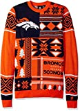 FOCO Denver Broncos Patches Ugly Crew Neck Sweater Extra Large