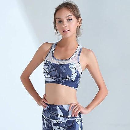 TX ZHAORUI Running Deportes Choque Ropa Interior Malla Costura Impresión No Anillo De Acero Bra Yoga