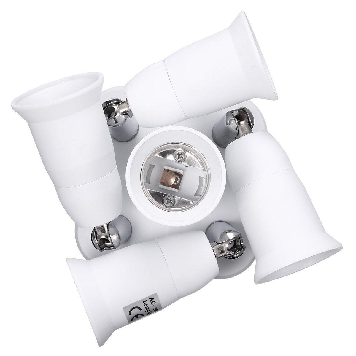 5 in 1 Light Socket Adapter KINGSO E26/E27 Splitter for Standard LED Bulbs Converter with 360 Degrees Adjustable 180 Degree Bending 110-240V 200℃ Heat Resistant No Fire Hazard by KINGSO (Image #9)