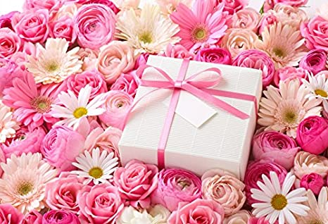 Laeacco MotherDay Flowers Photography Background 10x65ft Sweet Pink With Present Box