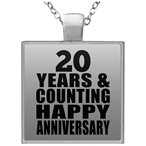 anniversary necklace 20 years counting happy anniversary square necklace silver plated pendant
