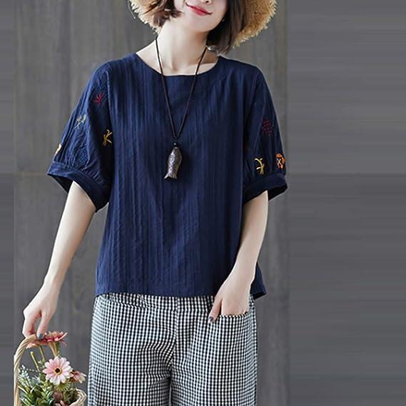Damenmode Freizeit Floral Bluse Tops Literarisch Zweiteilig Rundhals Shirts Tee