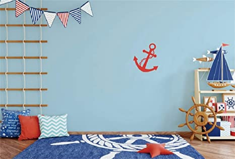Leyiyi 10x8ft Kids Birthday Backdrop Boys Room Interior Set Blue Ocean  Carpet Marine Pillows Rudder Anchor