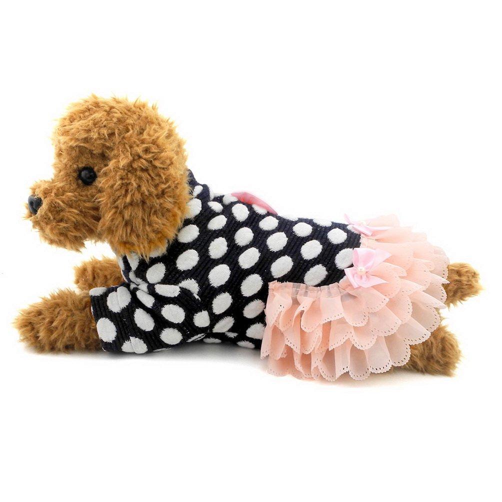 SELMAI Cute Dog Dresses Dots Doggie Oufits Small Dog Clothes Patterns Blue M