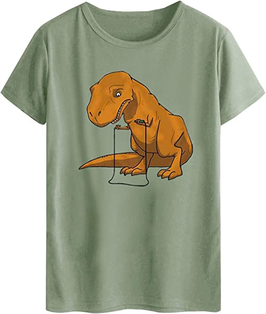 Dresswel Camiseta Mujer Manga Corta Impresión Dinosaurio Blusa Camisa Cuello Redondo Básica Camiseta Suelto Verano Tops: Amazon.es: Ropa y accesorios
