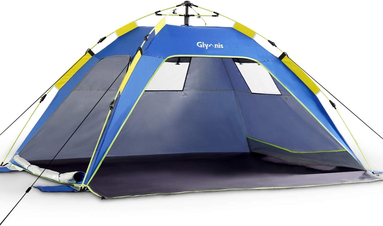 Glymnis Strandmuschel Quick Up Strandzelt Automatisches Strand Zelt mit Rei/ßverschlusst/ür UV-Schutz 50 Windschutz kleines Packma/ß Strandzelt f/ür 3 bis 4 Personen