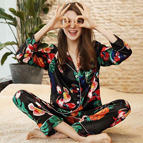 per Donna Pigiama da Notte Camicia con Pigiama Raso camicia bottoni Floreale Donna Chemise note Camicia Pigiami morbida Controllare in da collare Luxury lungo Xqxxwdr