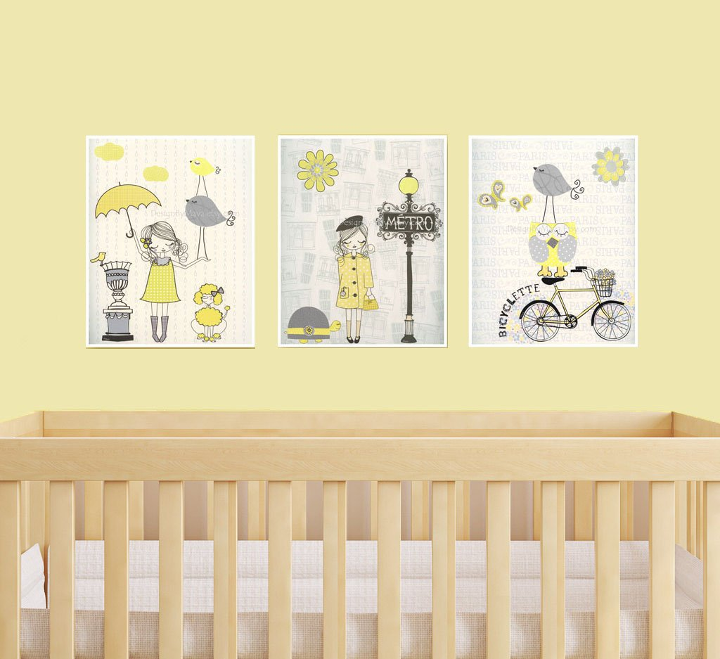 Amazon.com: Nursery decor Paris wall art in yellow and gray set of 3 ...