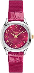 Salvatore Ferragamo Women's TIME' Swiss Quartz Stainless Steel and Leather Casual Watch, Color:Pink (Model: F42010017)