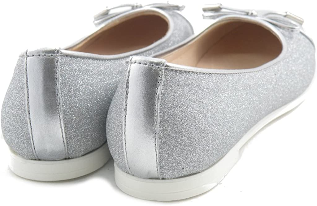 Andrea Morelli Ballerine Lacci Glitter Pelle Made in Italy IB54627 Argento