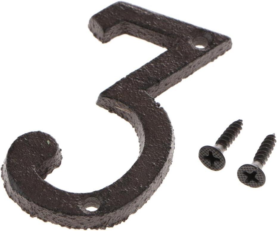 LOVIVER Placa de Signo de Número 0 a 9 Hecho de Hierro con Tornillos de Ensamblaje Decoración para Puerta Pared Jardín - Numero 3