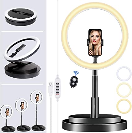 Selfie LED Ring Light with Phone Holder and Bluetooth Remoter