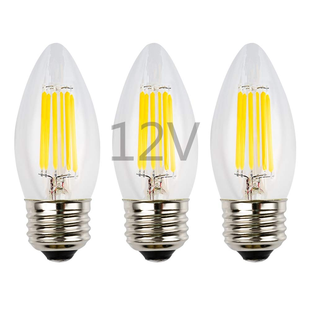 OPALRAY 6W LEDフィラメント電球 12V AC 12V DC 調光機能付き 温白色ライト E26共通電球ベース 600Lm 60W白熱電球相当 12V電源 クリアガラス魚雷チップ 3個パック B07N2SCWZK