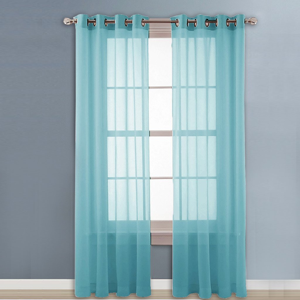 Sheer blue window curtains - Amazon Com Nicetown Sheer Curtain Panels Grommet Home Decorative Solid Drapes For Bedroom 2 Panels W54 X L96 Inches Aqua Blue Teal Home Kitchen