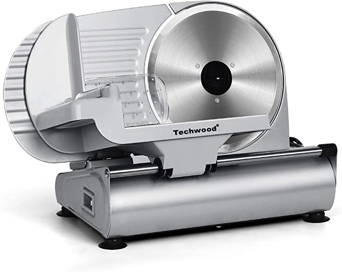 """Meat Slicer, Techwood Electric Deil Food Slicer with Removable 9"""" Stainless Steel Blade, Deli Cheese Fruit Vegetable Bread Cutter with Adjustable Knob for Thickness, Food Carriage & Non-Slip Feet"""