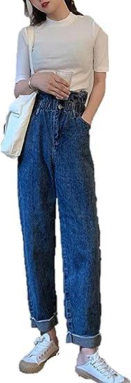 [ウンセン]レディース ジーンズン ハイウエスト ロールアップ デニム ズボン ロングパンツ カーブ テーパード ウエストタック ゆったり ボトムス パンツ ジーパン