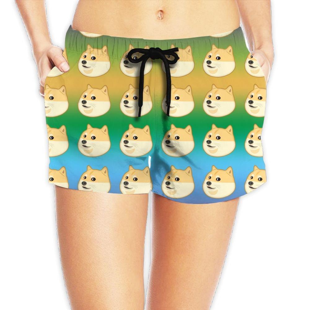 Deear Funny Emoji Doge Womens Quickly Drying Beach Waist Elastic Shorts Swim Trunk Boardshorts Swimwear With Pocket M by Deear
