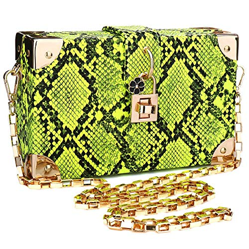 Womens-Snakeskin-Handbag-Ladies-Evening-Clutch-Crossbody-Purse-Shoulder-Bag-with-Chain