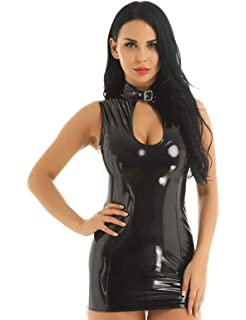 fed17ce2cb7 iEFiEL Women PVC Leather Wetlook Sleeveless Stand Collar Front Zipper  Bodycon Mini Dress for Club Party