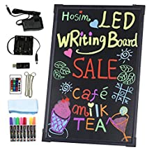 """Hosim 24"""" x 16"""" Flashing Illuminated Erasable Neon LED Message Writing Board Restaurant Menu Sign (7 Colors of RGB 28 Flashing-Mode Remote Control, USB Controller, Metal Chain for Hanging up, Washable Eraser Cloth)"""