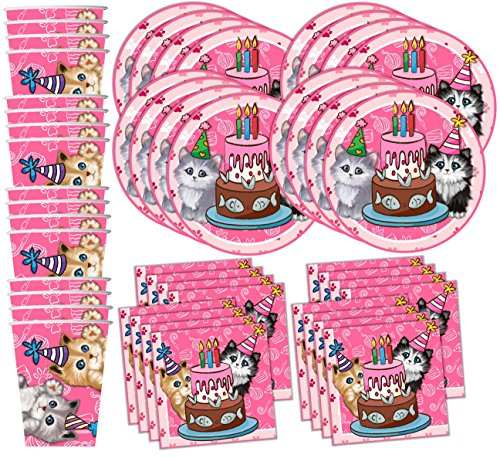 Kitty Cat Pink Kitten Birthday Party Supplies Set Plates Napkins Cups Tableware Kit for 16 by Birthday Galore