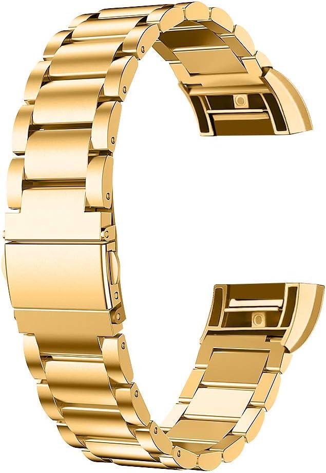 ametonqh - Correa de Repuesto para Fitbit Charge 2, Ajustable, de Acero Inoxidable, Correa de Reloj de Metal para Fitbit Charge 2, Accesorio para Hombres y Mujeres