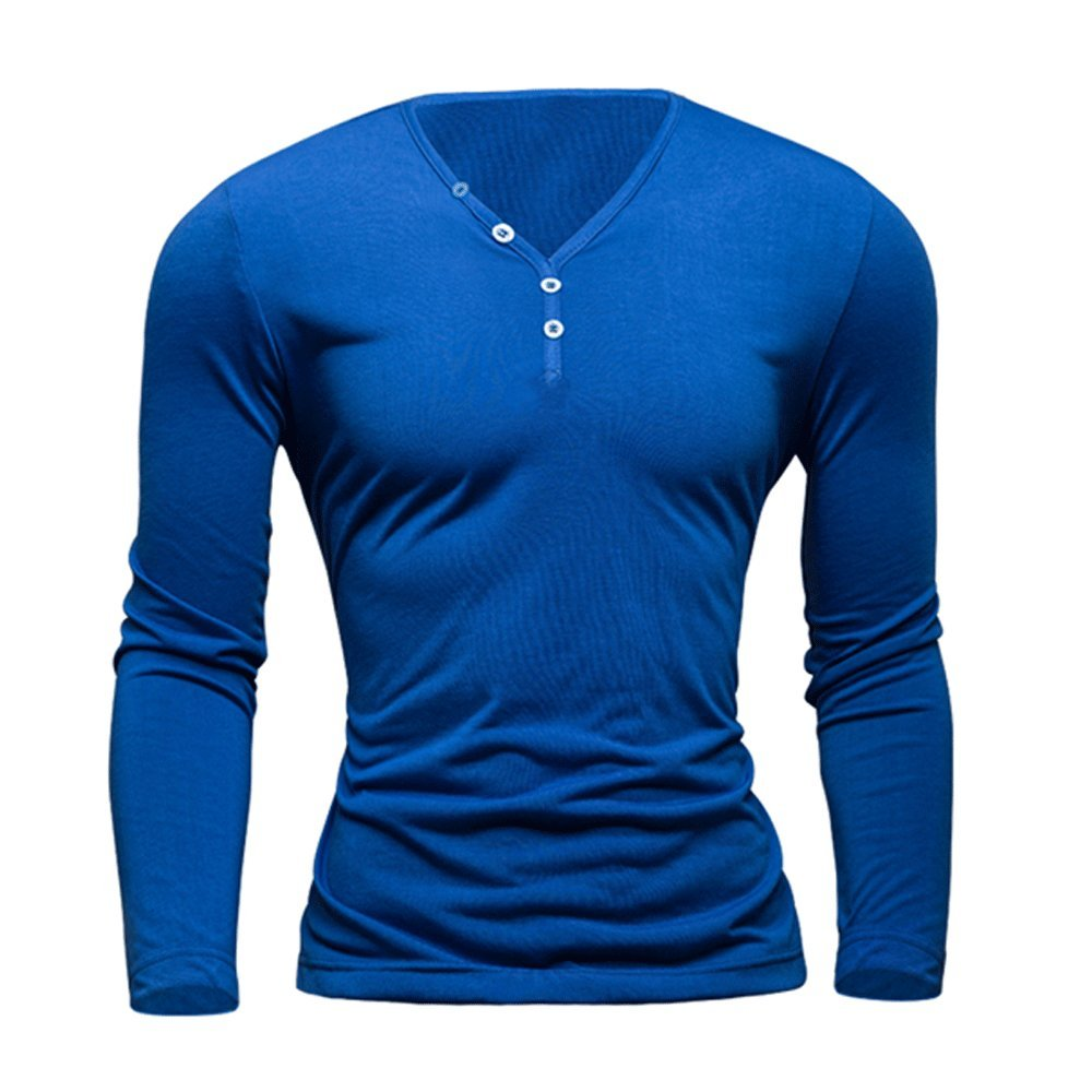 LINGMIN Mens V Neck Long Sleeve T-Shirt Slim Fit Button Placket Stretchy Henley Solid Color Cotton Shirts