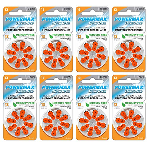 Powermax USA Size 13 Hearing Aid Batteries, Orange Tab, Made In the USA, 64 Count