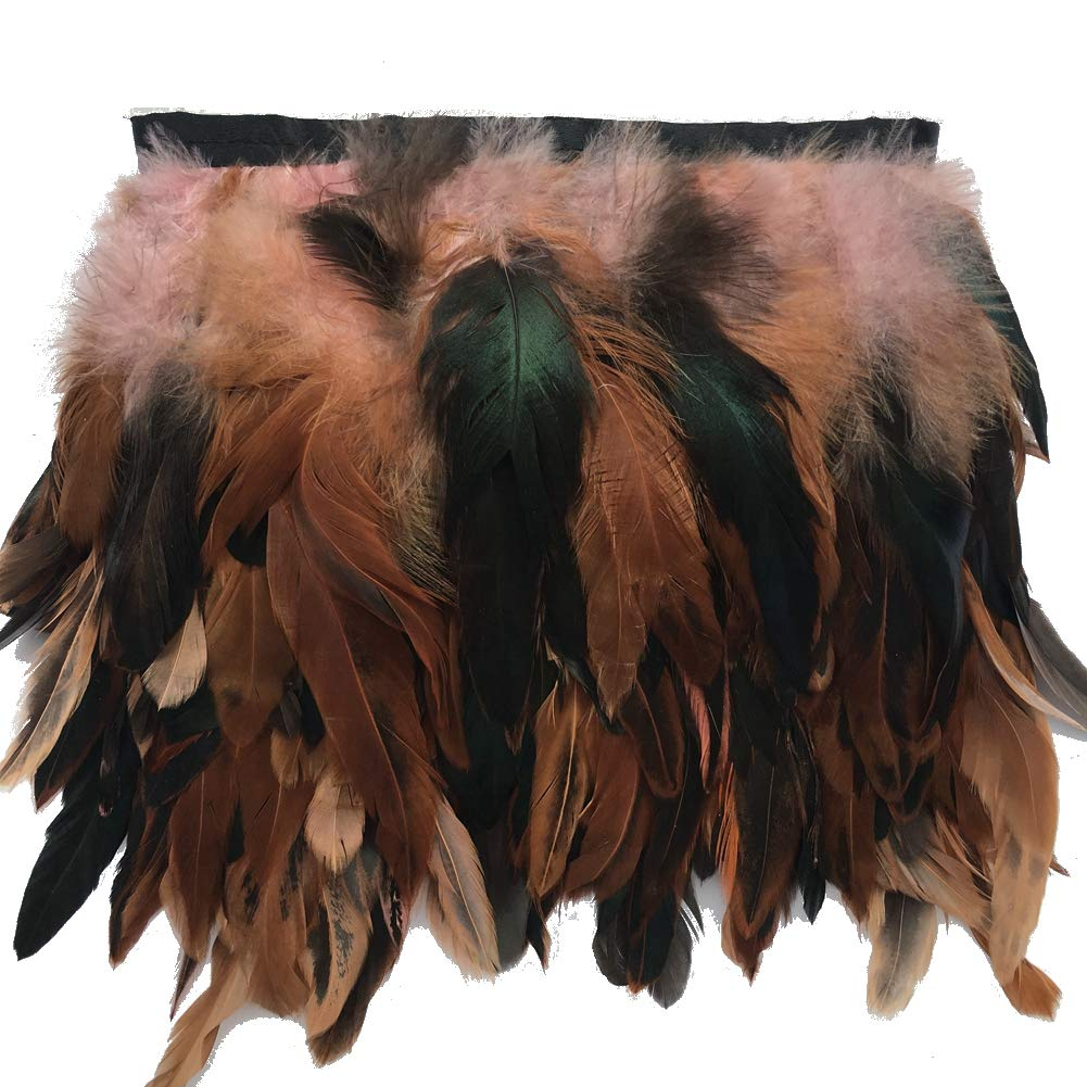 Sowder Rooster Hackle Feather Fringe Trim 5-7 in Width Pack of 5 Yards (Coffee) shuoheng
