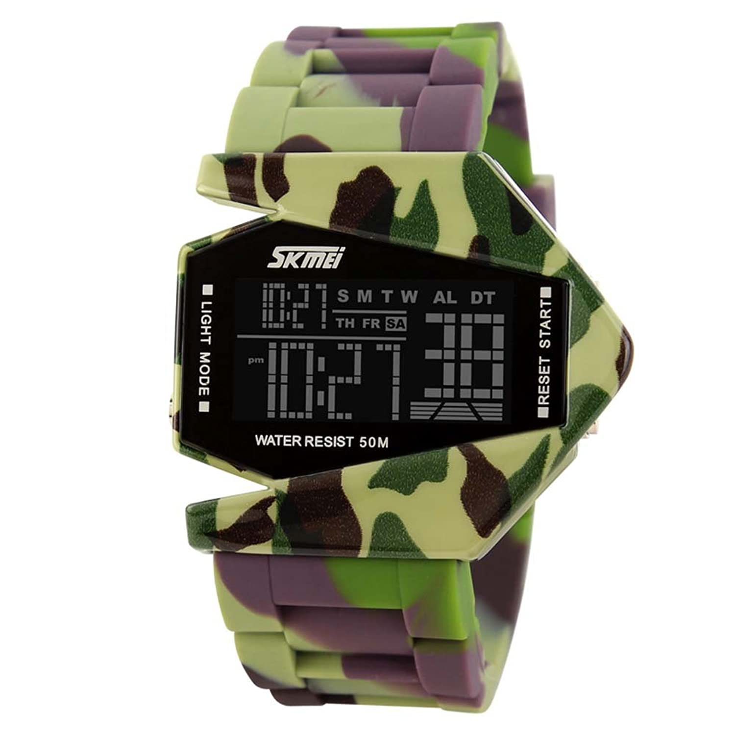 Amazon.com: Jelercy Kids Military LED Digital Sport Watch Seven Colours Back Light 164FT 50M Water Resistant Army Green: Watches