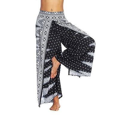 ddc19ad1b1a Fanteecy Women Boho Print High Slit Flowy Wide Leg Layered Yoga Pants  Aladdin Casual Palazzo Trousers