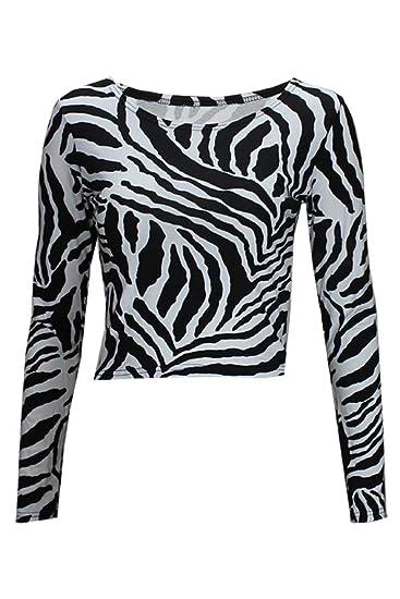 999fc15e0c7b1 Thever Women Ladies Long Sleeve Animal Zebra Monochrome Black   White Print  Scoop Neck Crop Top