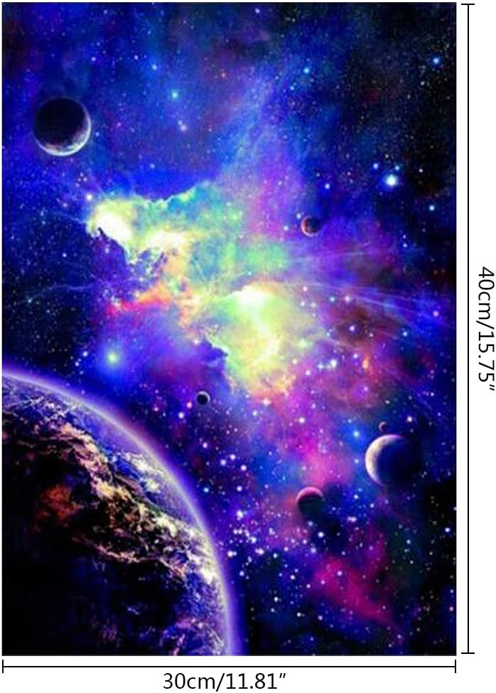 Forme ronde Beau Cosmic Galaxy Diamond Painting Elegant Canvas Broidery Craft DIY Painting Kit pour d/écoration murale Cosmic Galaxy 5D Diamond Painting Kits Full Drill
