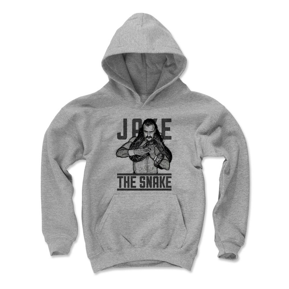 Jake The Snake Roberts Youth Hoodie - Kids X-Large Gray - Old School WWF Wrestling Apparel - Jake The Snake Sketch K
