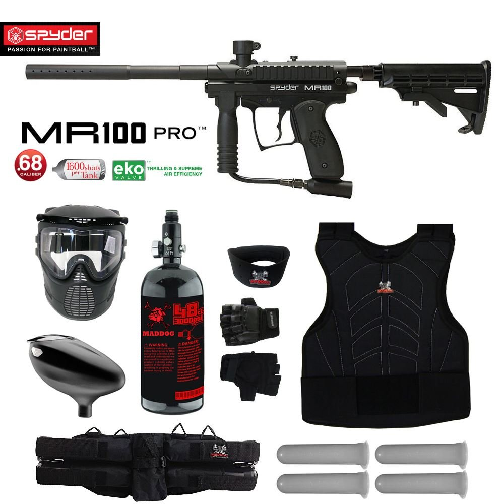 Maddog Spyder MR100 Pro Starter Protective HPA Paintball Gun Package - Black by Maddog
