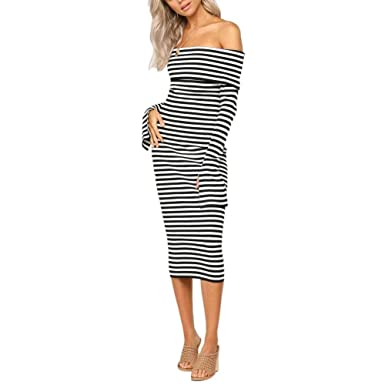 4717a210618 GOOCHEER Women's Long Sleeve Off Shoulder Striped Knit Bodycon Midi Dress  at Amazon Women's Clothing store: