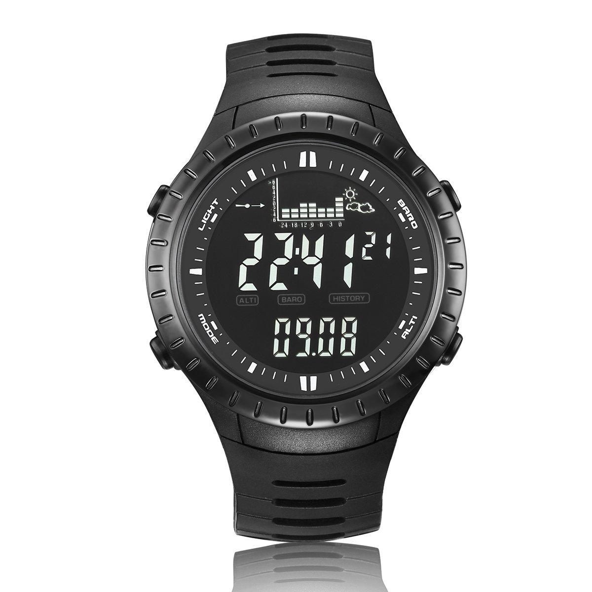 JUSHENG Spovan Multi function Men Black Sports Alarm Altimeter Fishing Quartz Watches Electronic Fishing Barometer by JUSHENG