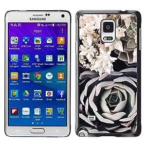 Be Good Phone Accessory // Dura Cáscara cubierta Protectora Caso Carcasa Funda de Protección para Samsung Galaxy Note 4 SM-N910 // Art Black White Rose Composition