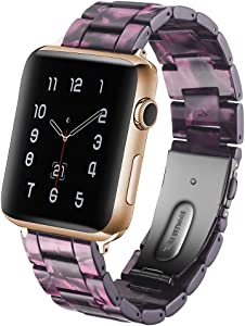 CAUNEDY Resin Watch Band for 38mm 40mm Apple Watch Series 5 4 3 2 1 with Stainless Steel Buckles Fashion Lightweight Sport Smart Watch Wristband Strap for Men Women(38/40mm,Aurora Purple)